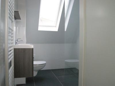 Compleet vernieuwde badkamer met douche toilet en wastafel.