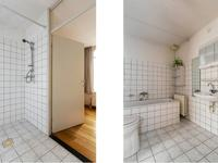 Tussen de slaapkamers zit de badkamer, te bereiken vanuit allebei de kamers. De badkamer is volledig betegeld en is voorzien van een ligbad, douche, wastafel en 2e toilet.