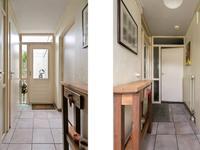 Het achterportaal, voorzien van een tegelvloer voorzien van vloerverwarming, geeft toegang tot het geheel betegeld toilet met fonteintje en vloerverwarming, geheel betegelde badkamer voorzien van vloerverwarming, een wastafelcombinatie, ligbad en douche en toegang tot de praktische berging. Ook is de patiotuin vanuit het portaal bereikbaar.