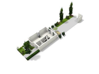 begane grond met tuin 3d